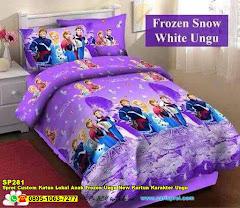 Sprei Custom Katun Lokal Anak Frozen Ungu New Kartun Karakter Ungu