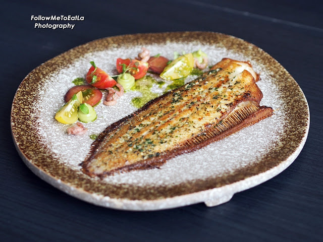 Pan Fried Whole Doversole Brown Butter, Heirloom Tomato, Avocado RM 150