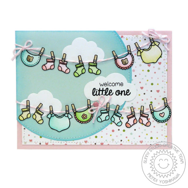 Sunny Studio Stamps: Baby Bear Onesies, Socks & Bibs Clothesline Card by Mendi Yoshikawa