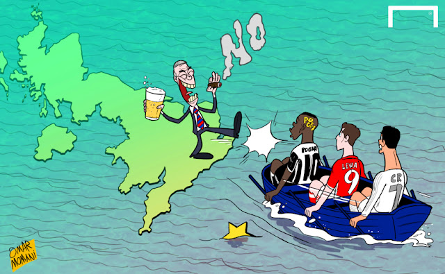 Nigel Farage kicks European footballers boat cartoon