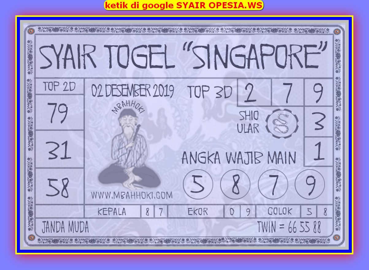 Kode syair Singapore Senin 2 Desember 2019 150