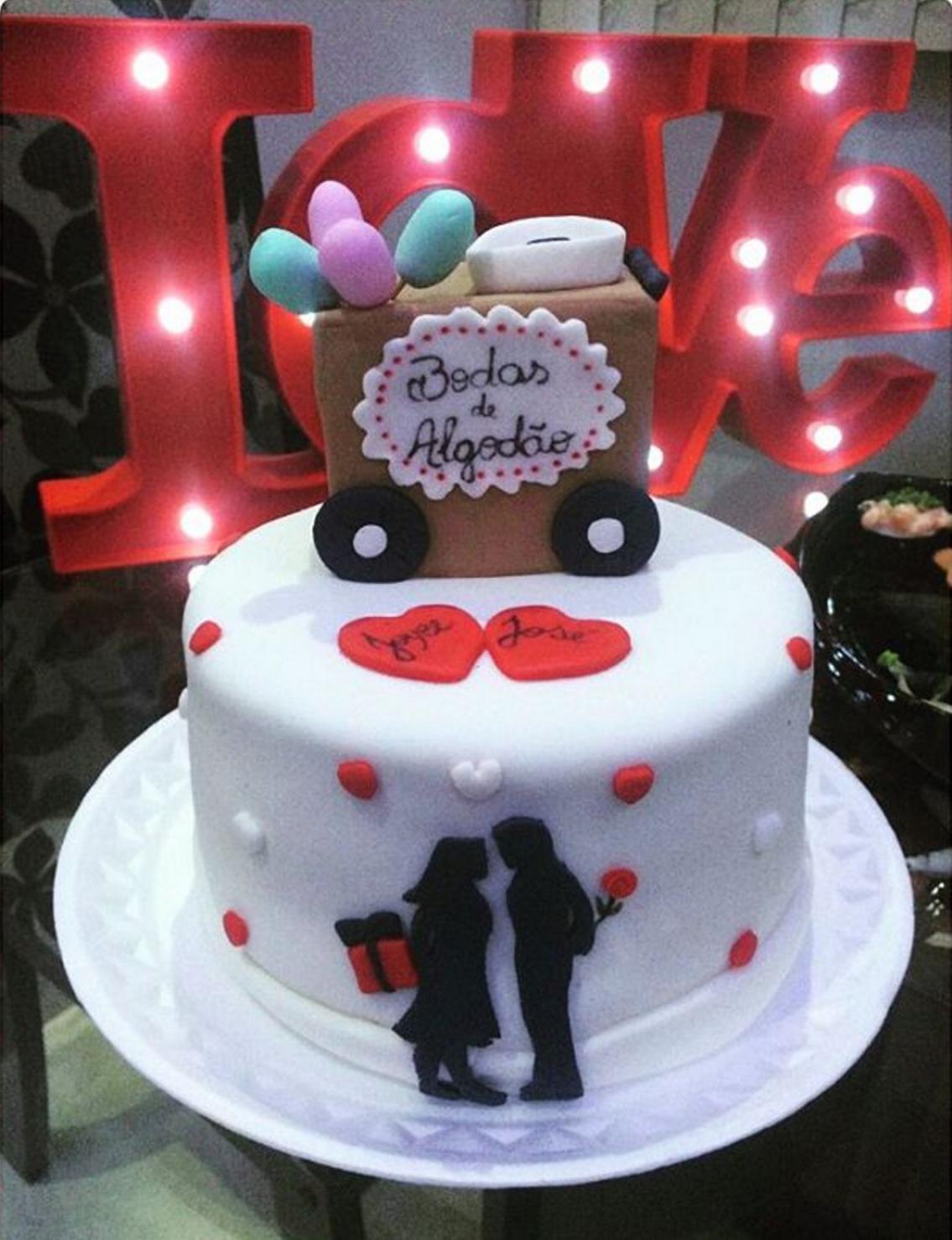 Para los que pasaron su primer año un detalle muy especial para celebrar su amor juntos un carrito de algodón de azúcar en la torta @cabocladoce