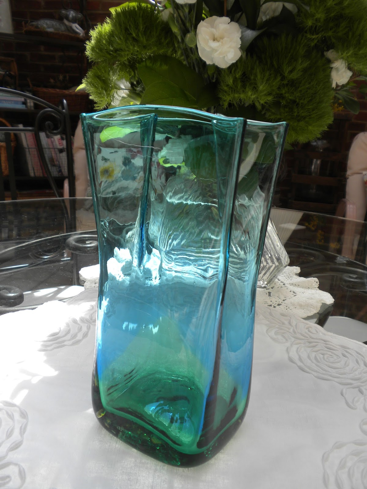 Panoply recent blenko glass purchases paper bag vase this is a color fade of bermuda blue and spring green it is 85 high the waves you see midway through are another blenko vases lines floridaeventfo Gallery