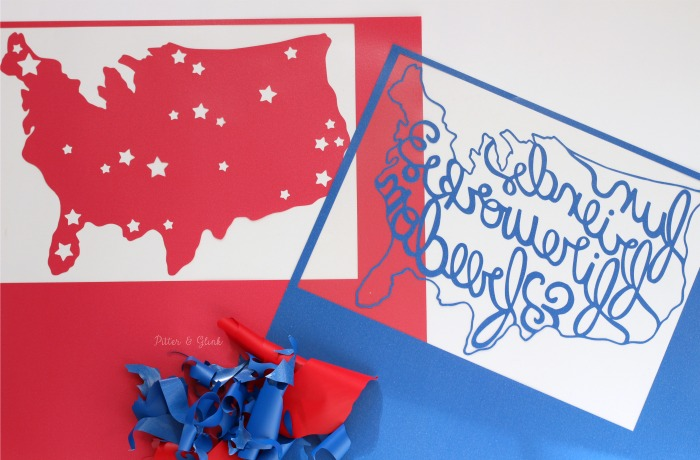 Weeding the Hand-Lettered America design from HTV.