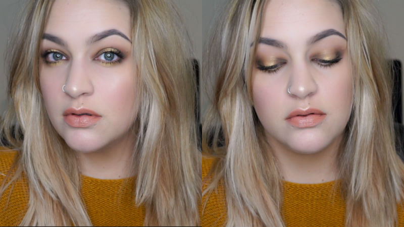 yellow and brown smokey eye makeup look