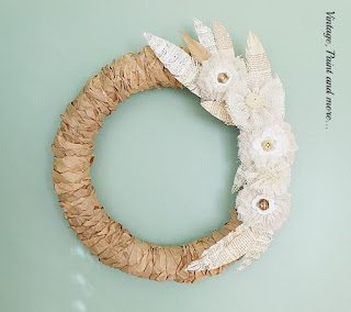 Vintage, Paint and more... a fall wreath made with twisted lunch bag strips, diy burlap flowers and paper feathers