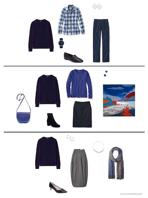 three ways to wear a navy cashmere v-neck sweater from a capsule wardrobe