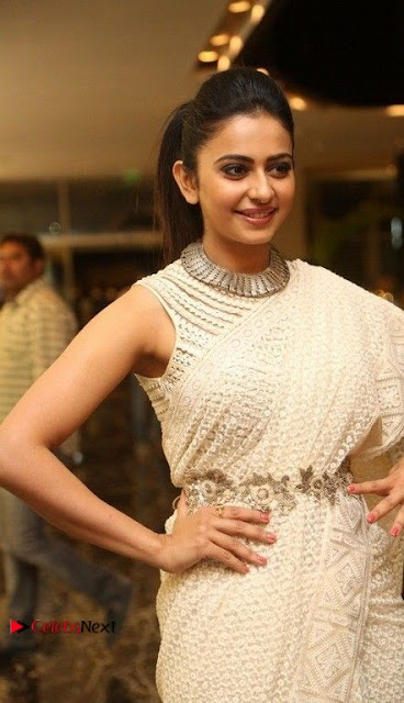 Actress Rakul Preet Singh Stills in White Dress at Winner Pre Release Function  0004.jpg