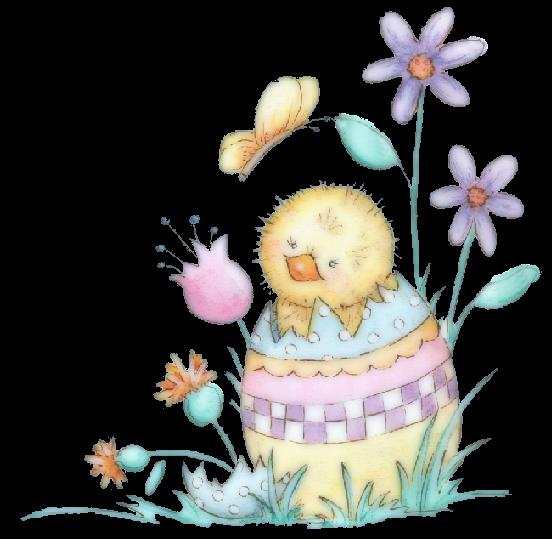 tube pollito pascua y huevos decorados