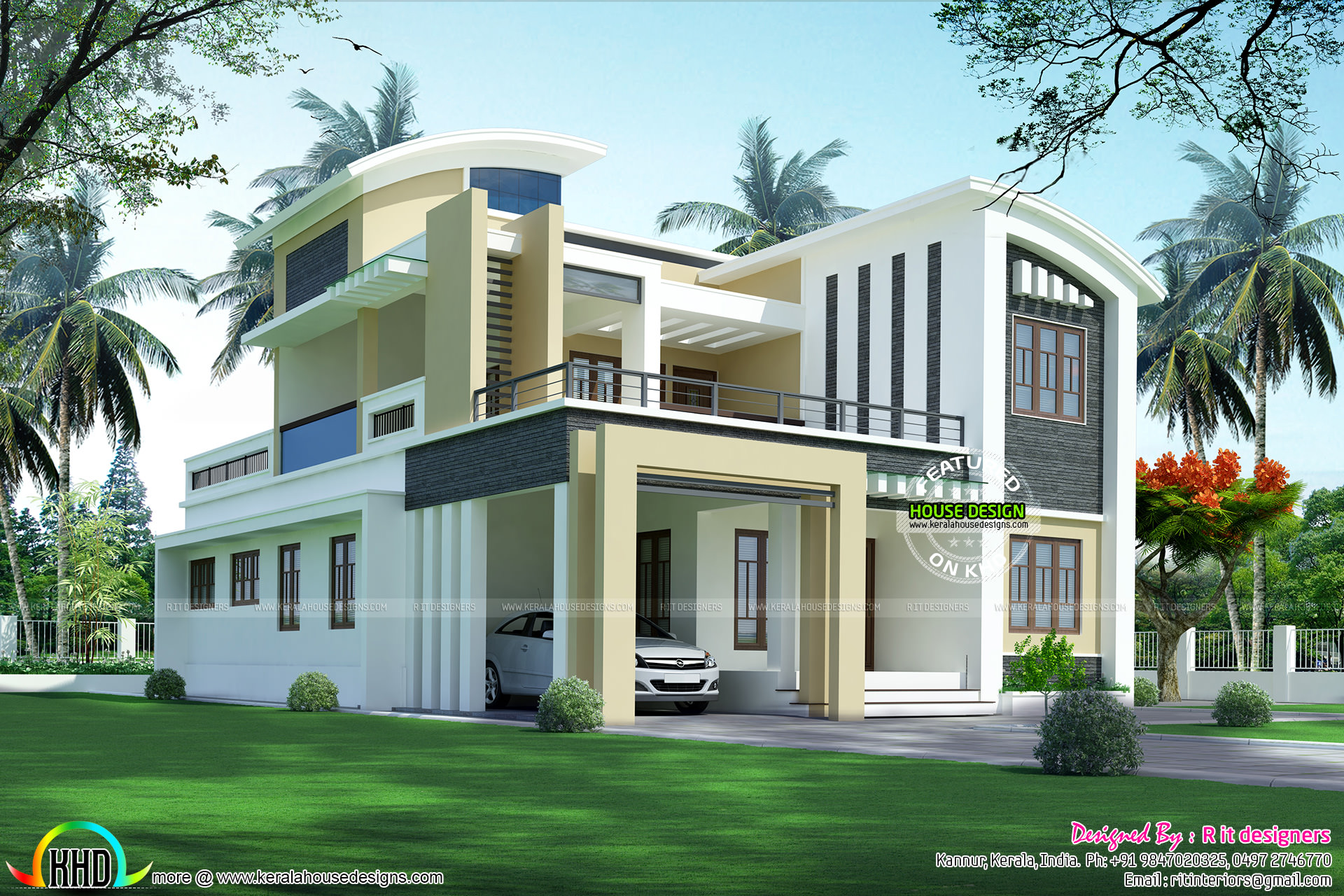 3108 sq ft modern house kerala home design and floor plans for Ground floor modern house design