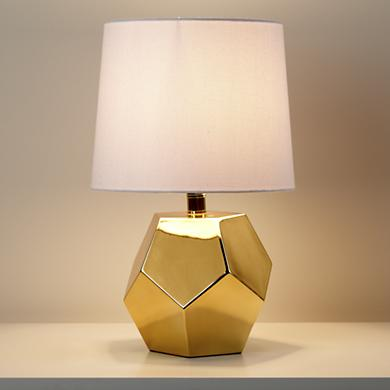 geometric gold rock table lamp