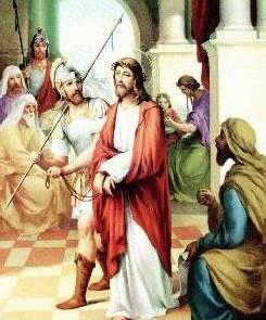 Dibujo de Jesus apresado y condenado