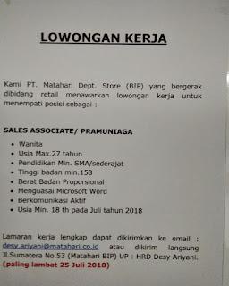 Lowongan Kerja BIP Bandung 2019, Lowongan Kerja Bandung  Indah Plaza Terbaru 2018