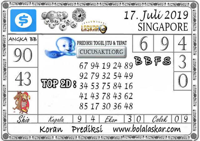 Prediksi Togel SINGAPORE LASKAR4D 17 JULI 2019