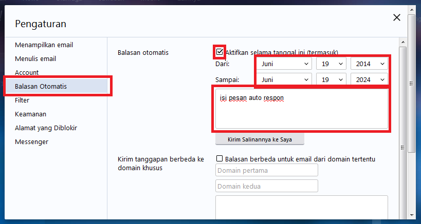 Cara Setting Autoresponder / Auto Reply / Vacation Response Di Yahoo Mail