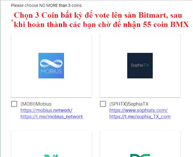 Đăng ký nhận 20 Bitmart (BMX) - Coin của sàn giao dịch Bitmart