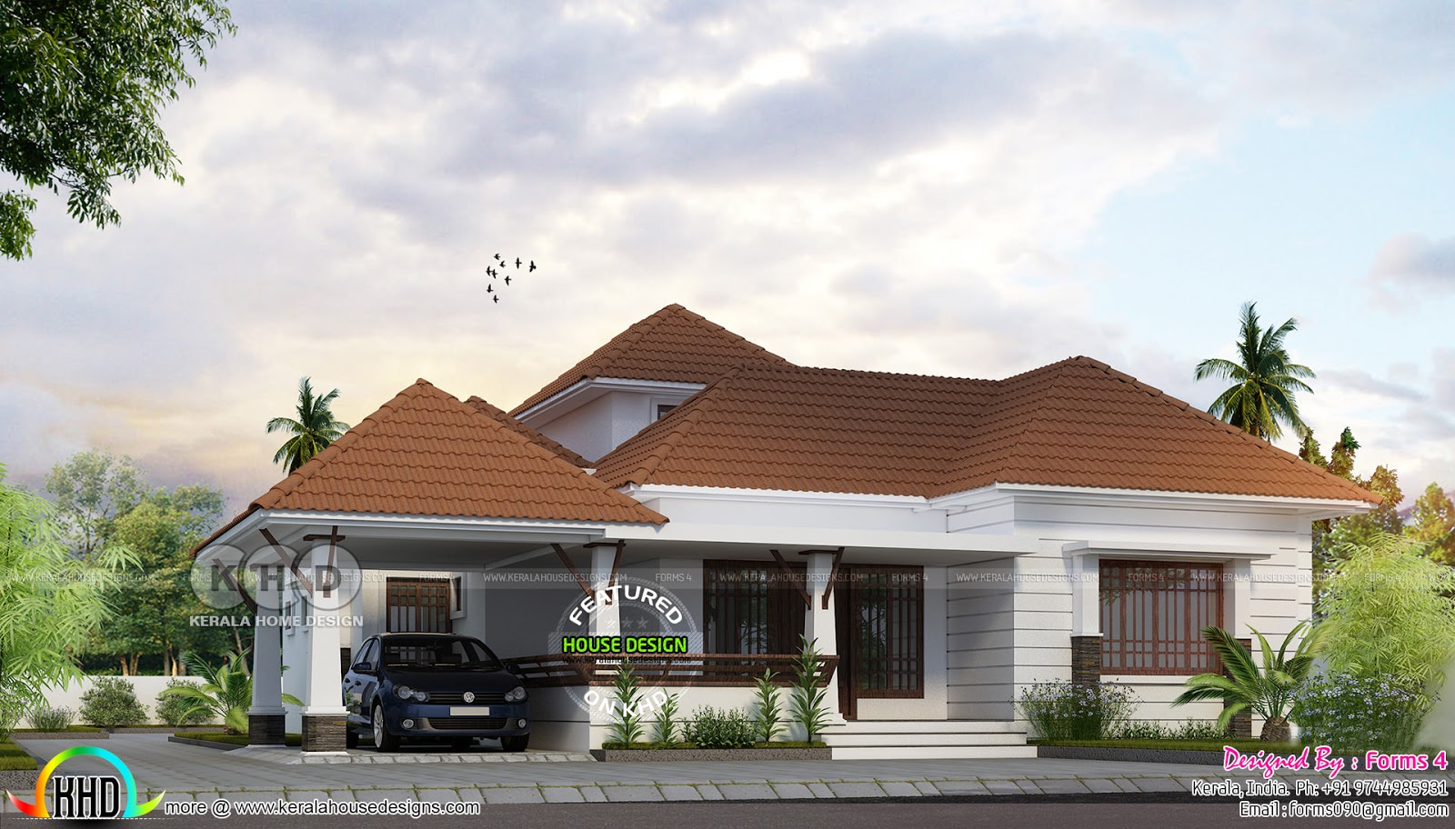 single-floor-house Kerala Home Design With Long Veranda on modern mountain home designs, enclosed pergola designs, best energy efficient home designs, homes with flat roof designs, homes with carport designs, front verandah designs, mobile home designs, spanish home designs,