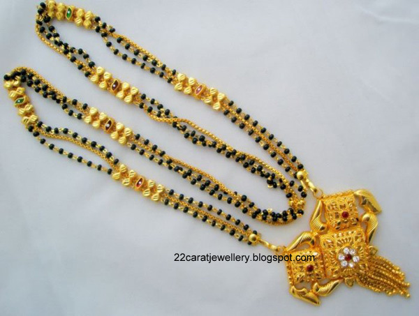 22 Carat Gold Black Beads Nallapusalu Long Chain Designs