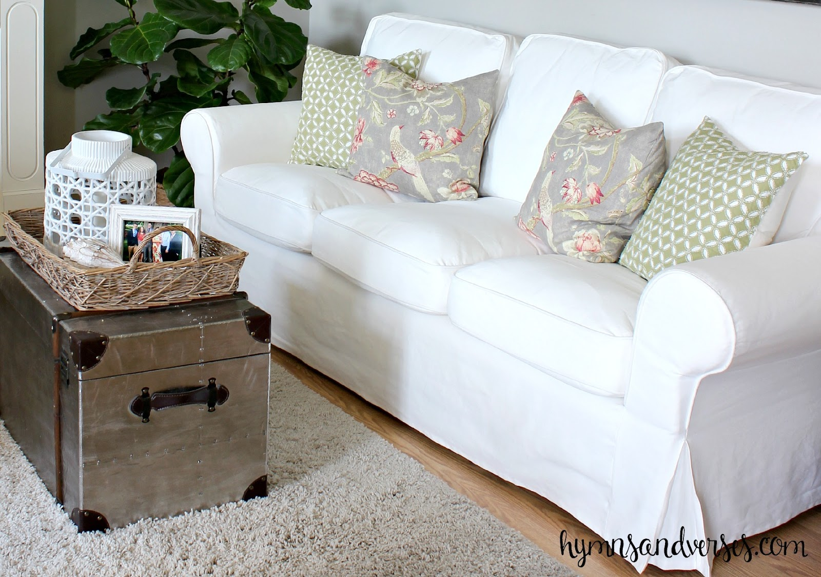 Linen Slipcover Sofas Beatrice Cream Microfiber Sofa A Brighter Look With An White Ikea Ektorp - Hymns And ...