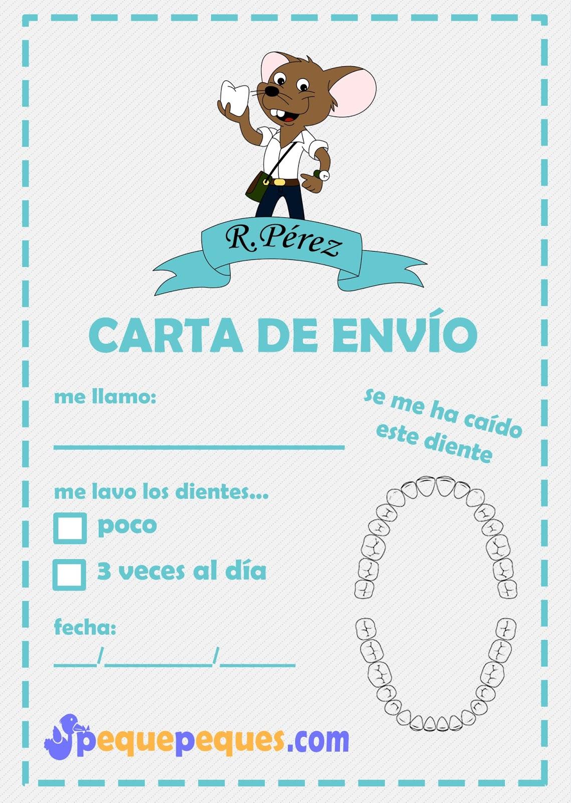 Carta de envío al ratoncito Pérez - IMPRIMIBLE