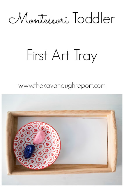 A Montessori toddler's first art tray - a look at how we introduce art supplies in a Montessori home