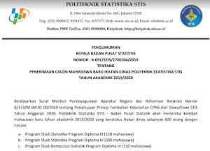 PMB Sekolah Tinggi Ilmu Statistik (STIS) Ikatan Dinas tahun 2019