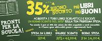 Logo ''Più Libri Più Buoni'' : ricevi il 35% di sconto in buoni spesa
