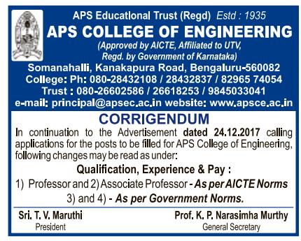 Corrigendum] APS College of Engineering, Bangalore, Wanted