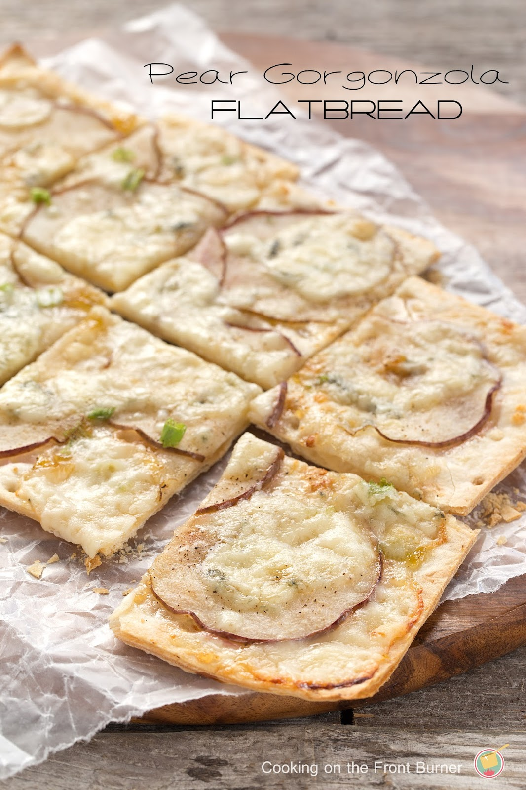 Pear Gorgonzola Flatbread by Cooking on the Front Burner