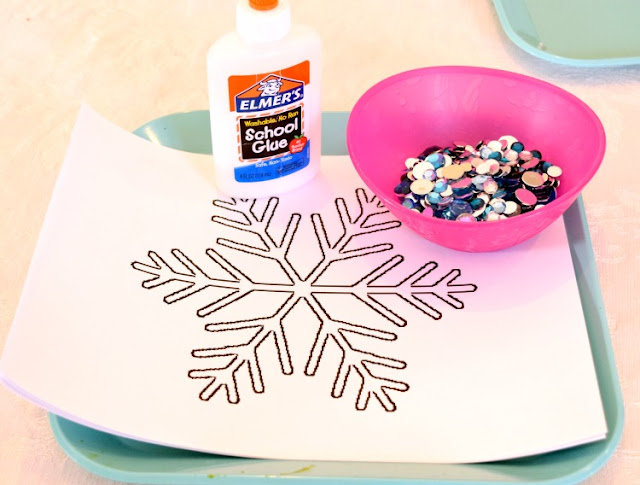 Rhinestone Snowflakes- Fine motor winter craft for preschoolers
