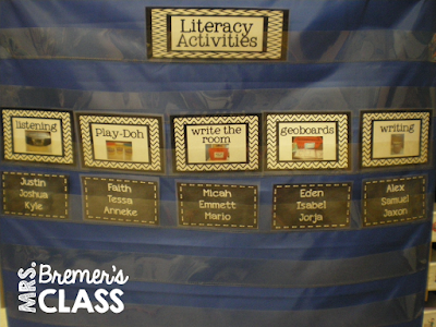 Literacy center rotation board chart