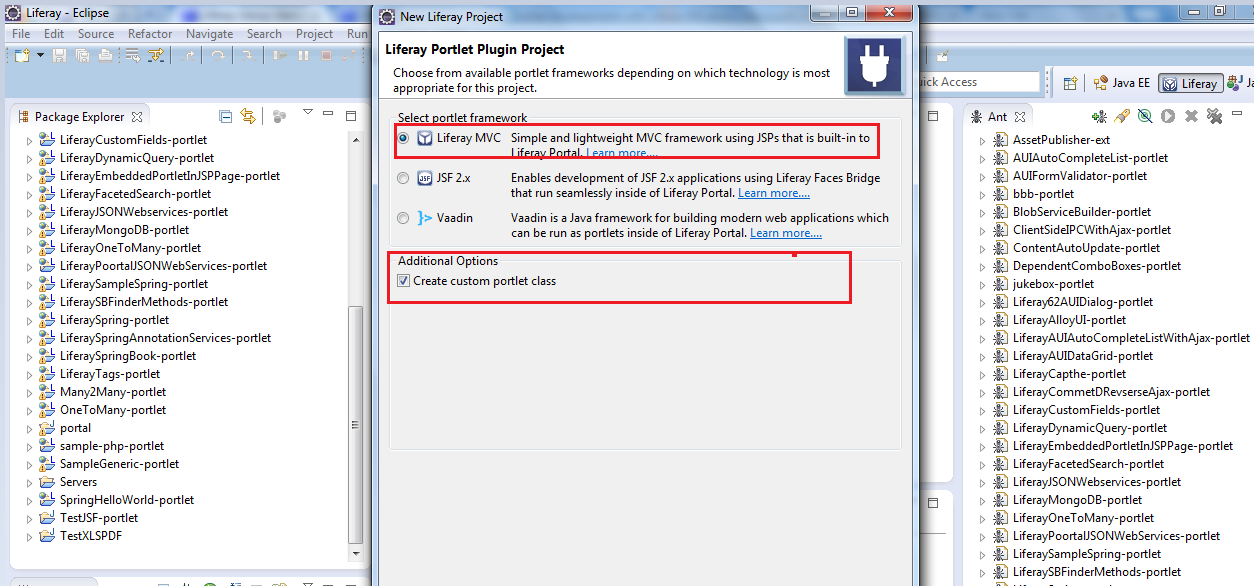 Generic Portlet Development with Liferay Plugins SDK and Liferay IDE