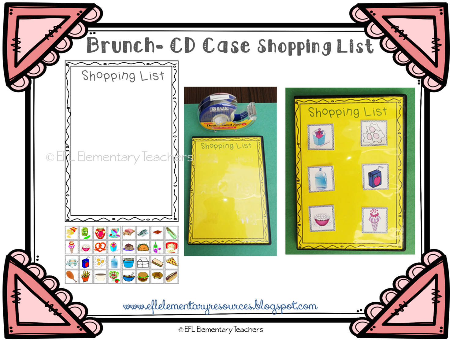 EFL Elementary Teachers: Recycle your old CD cases- Food Theme for ELL
