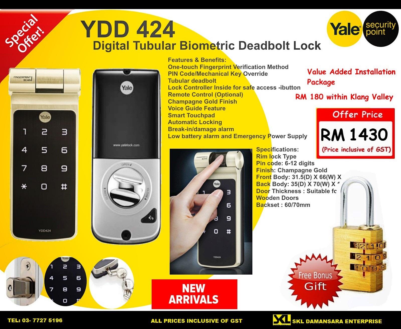 New Arrival 2016!! Yale YDD424 Biometric Digital Lock now on sales