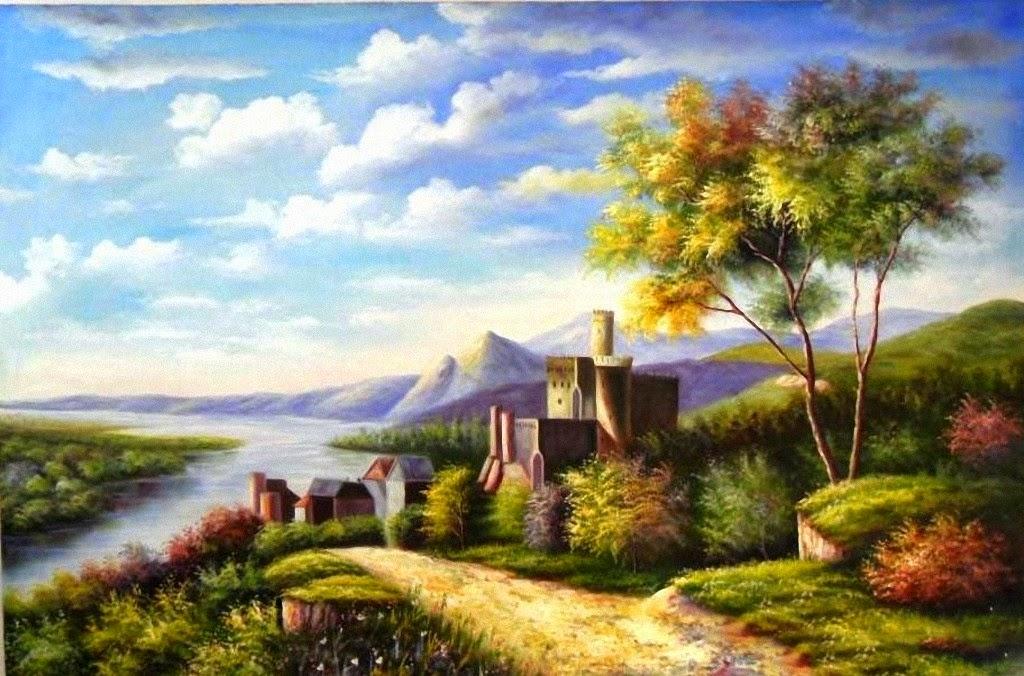 45 Contoh Lukisan Pemandangan Cat Air Terbaru