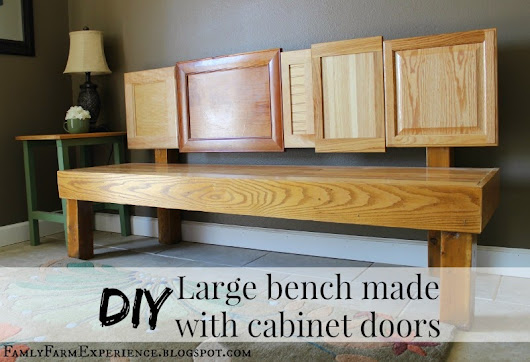 DIY Large bench made with cabinet doors
