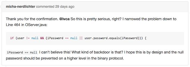 OrientDB issue, code: iPassword == null