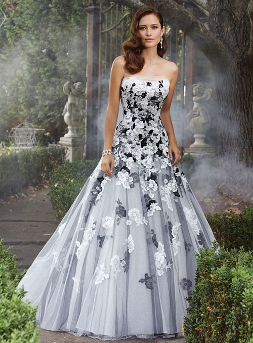 black and white wedding dress beautiful