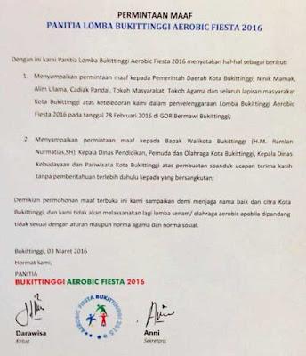 surat permintan maaf panitia Bukittinggi Aerobic Fiesta 2016