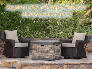 Augusta Outdoor 3 Piece Wicker Rocker and Stone Gas Firepit Set, Outdoor Spaces. Outdoor Furniture, Outdoor Living, Outdoor sofa Sets, Outdoor Sectional Sets,