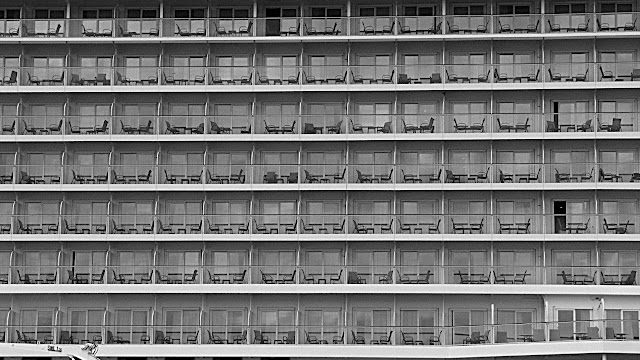 A wall of staterooms and balconies...