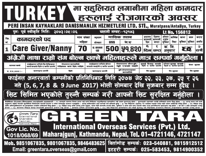 Jobs in Turkey for Nepali, Salary Rs 51,420