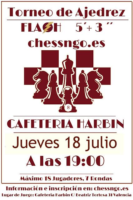 18 julio, 8º Torneo de Ajedrez Flash Cafetería Harbin