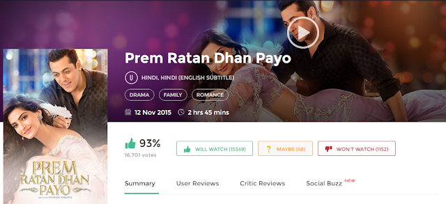 Prem Ratan Dhan Payo 2015 Full Hindi Movie 700Mb 300mb HD