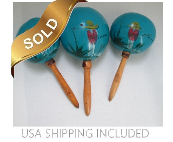 Mexican Hand Painted Maracas Set of Three