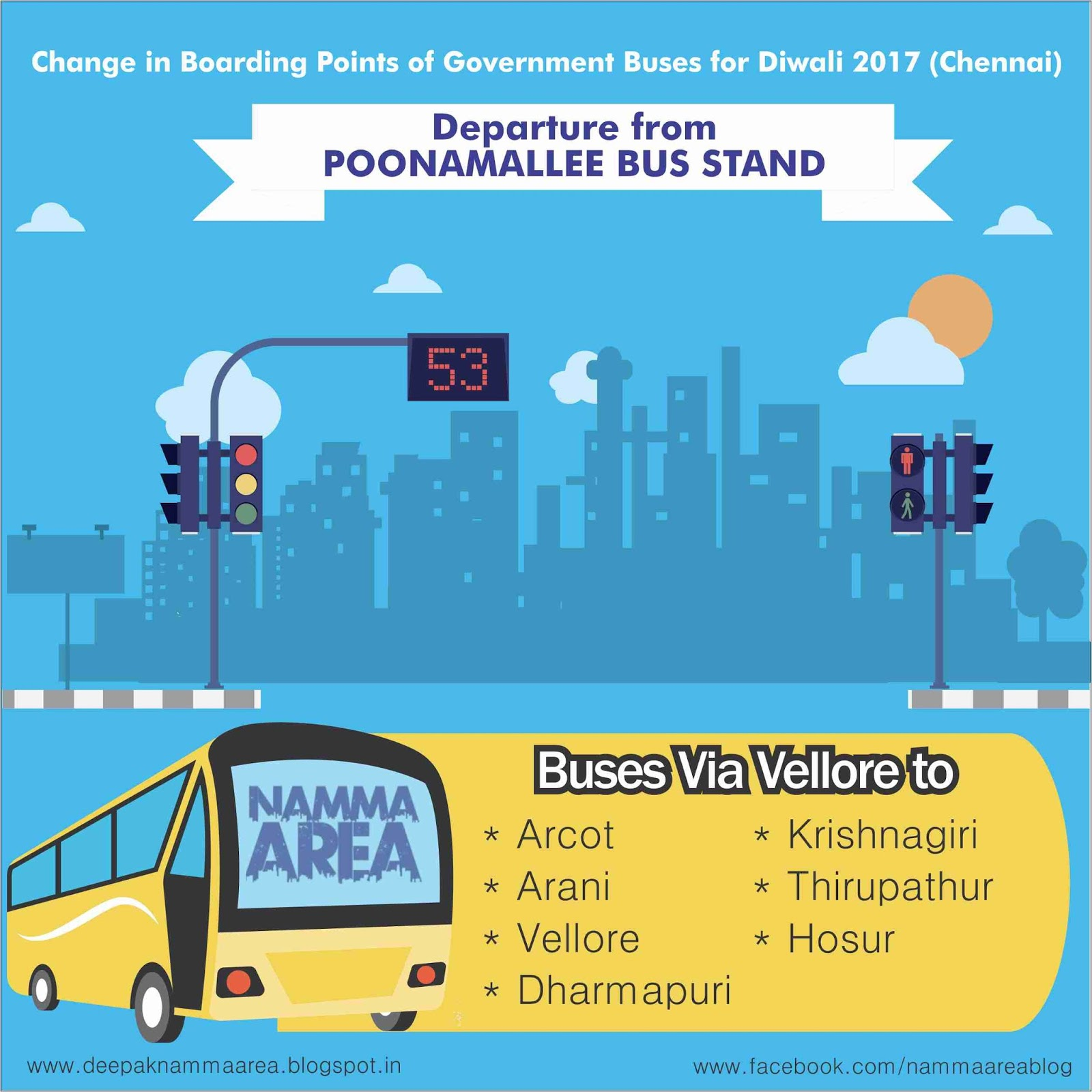Change in Boarding Points of Government Buses for Diwali