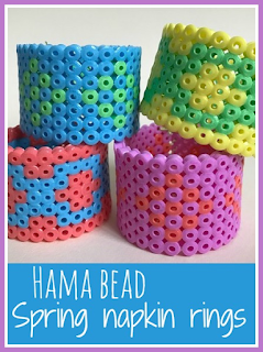 Hama bead Spring napkin rings craft