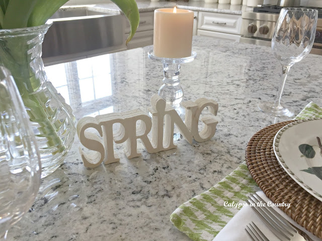 Spring Table Setting on the Island - plus a whole collection of other seasonal table settings