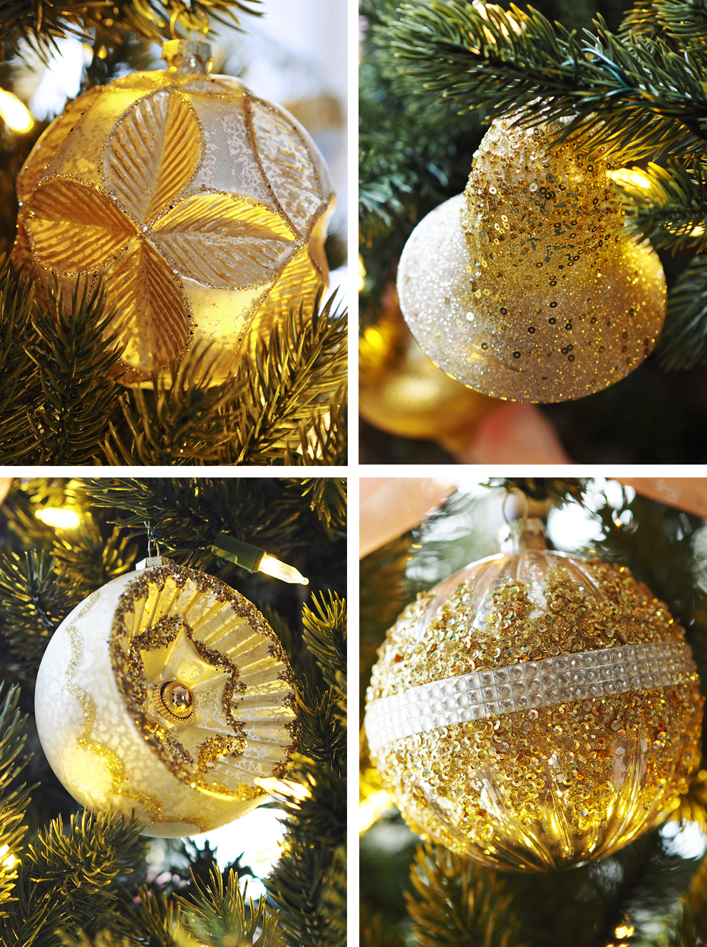 French For Pineapple Blog - Trees & Baubles Balsam Hill Christmas Blog Hop - montage of gold glitter tree bauble decorations on faux tree