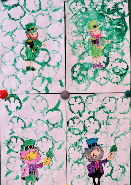 Easy St. Patrick's Day Art. Use a sliced green pepper to stamp out some shamrocks. Link to cute leprechaun to colour is included.